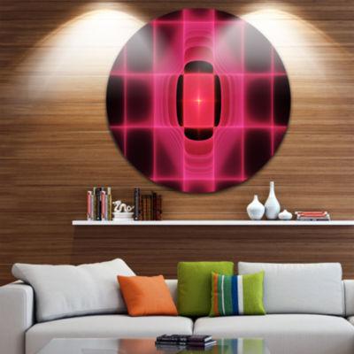 Designart Pink Thermal Infrared Visor Abstract Round Circle Metal Wall Art