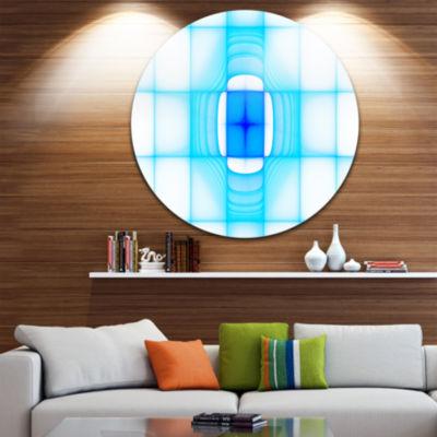 Designart Blue Thermal Infrared Visor Abstract Round Circle Metal Wall Art