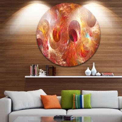 Designart Red Yellow Circles Texture Abstract Round Circle Metal Wall Art