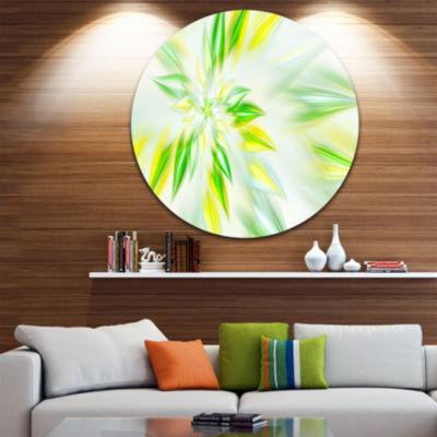 Designart Light Green Fractal Spiral Flower Abstract Round Circle Metal Wall Art