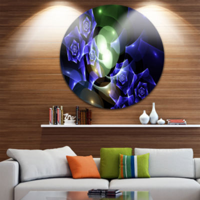 Designart Blue Bouquet of Beautiful Roses AbstractRound Circle Metal Wall Art