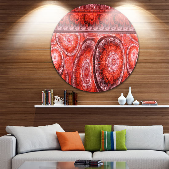 Designart Red Living Cells Fractal Design AbstractRound Circle Metal Wall Art