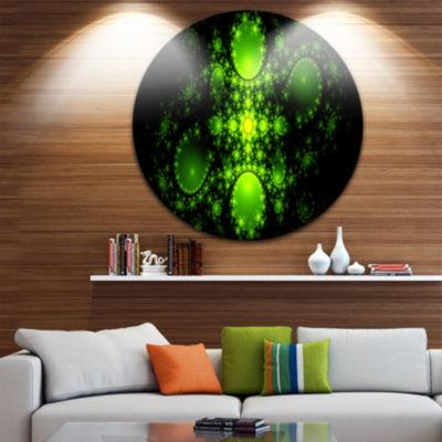 Designart Cabalistic Green Fractal Design AbstractRound Circle Metal Wall Art