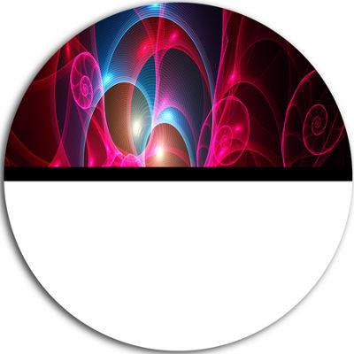 Designart Pink Curly Spiral on Black Abstract Round Circle Metal Wall Art Panel