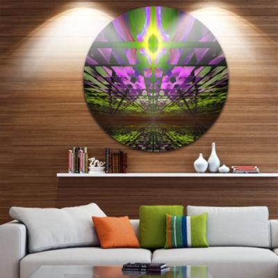 Designart Fractal Cosmic Apocalypse Abstract Art on Round Circle Metal Wall Art Panel