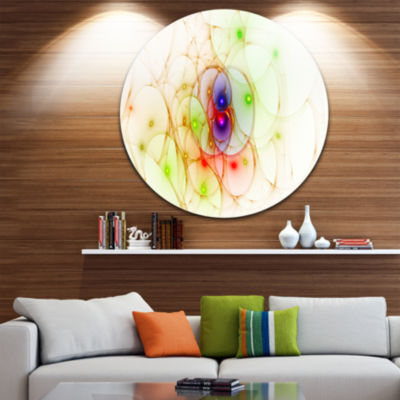 Designart Spherical Colorful Fractal Design Abstract Round Circle Metal Wall Art Panel