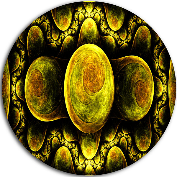 Designart Yellow Exotic Fractal Pattern Abstract Art on Round Circle Metal Wall Art Panel