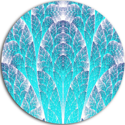 Designart Exotic Blue Biological Organism AbstractArt on Round Circle Metal Wall Art Panel