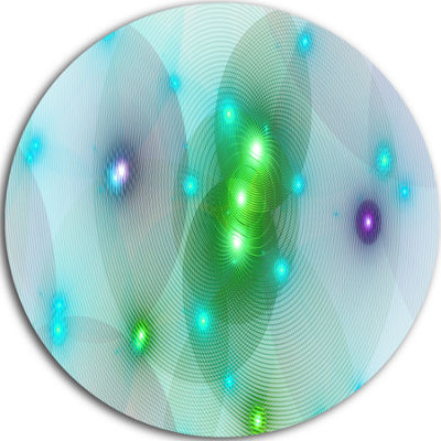 Designart Green Fractal Lights in Fog Abstract Round Circle Metal Wall Art Panel