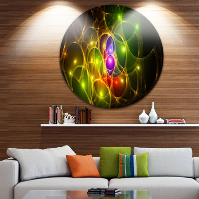 Designart Glowing Fractal Underwater World Abstract Round Circle Metal Wall Art Panel