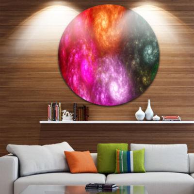 Designart Multi Color Rotating Galaxies Abstract Round Circle Metal Wall Art Panel