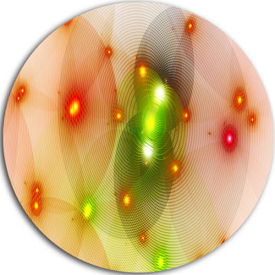 Designart Orange Fractal Lights in Fog Abstract Round Circle Metal Wall Art Panel