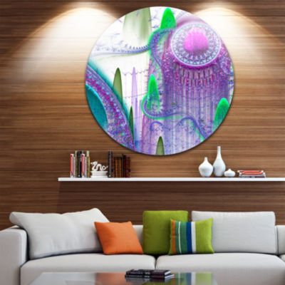 Designart Purple Fractal Infinite World Abstract Art on Round Circle Metal Wall Art Panel