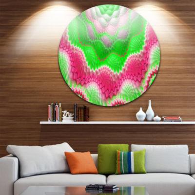 Designart Snake Skin Exotic Flower Abstract RoundCircle Metal Wall Art Panel