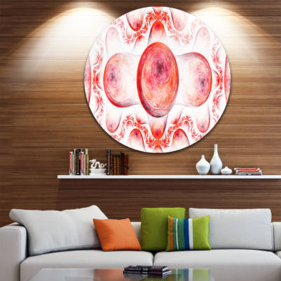 Designart Red Exotic Pattern on White Abstract Arton Round Circle Metal Wall Art Panel
