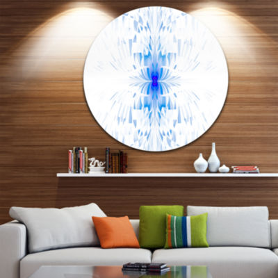 Designart Blue Butterfly Outline on White AbstractRound Circle Metal Wall Art Panel