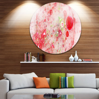Designart Red Fractal Planet of Bubbles Abstract Round Circle Metal Wall Art Panel