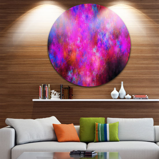 Designart Red Blue Starry Fractal Sky Abstract Arton Round Circle Metal Wall Art Panel