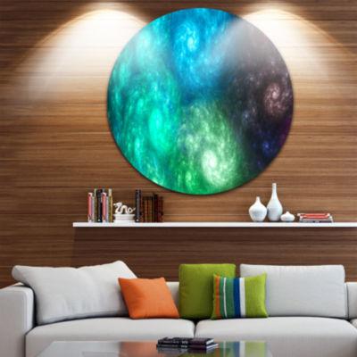 Designart Colorful Rotating Fractal Galaxies Abstract Round Circle Metal Wall Art Panel