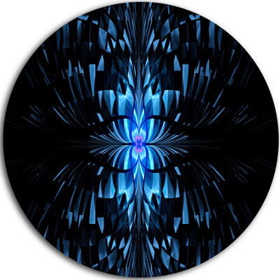 Designart Blue Butterfly Pattern on Black AbstractArt on Round Circle Metal Wall Art Panel