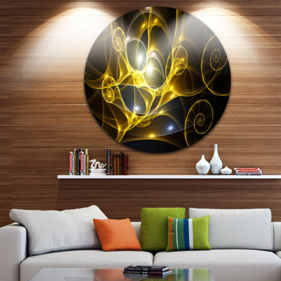 Designart Golden Curly Spiral on Black Abstract Round Circle Metal Wall Art Panel