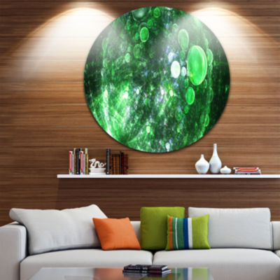 Designart Green Fractal Planet of Bubbles AbstractRound Circle Metal Wall Art Panel