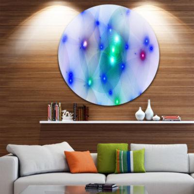 Designart Blue Fractal Lights in Fog Abstract Round Circle Metal Wall Art Panel