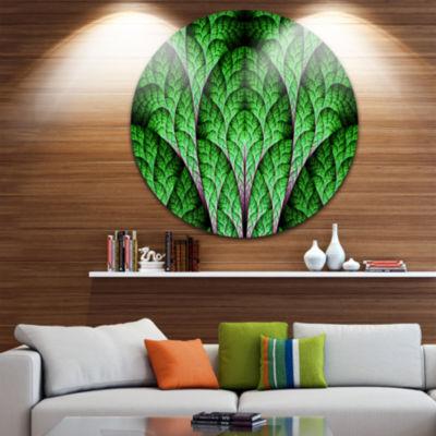 Designart Exotic Green Biological Organism Abstract Art on Round Circle Metal Wall Art Panel