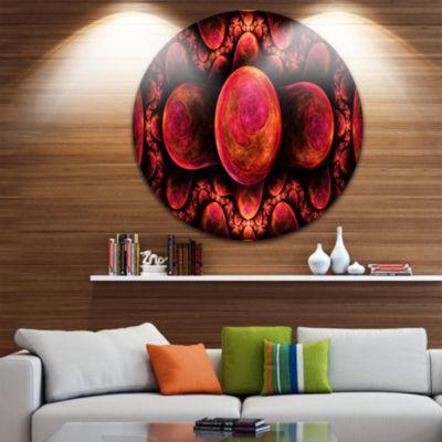 Designart Red Exotic Fractal Pattern Abstract Arton Round Circle Metal Wall Art Panel