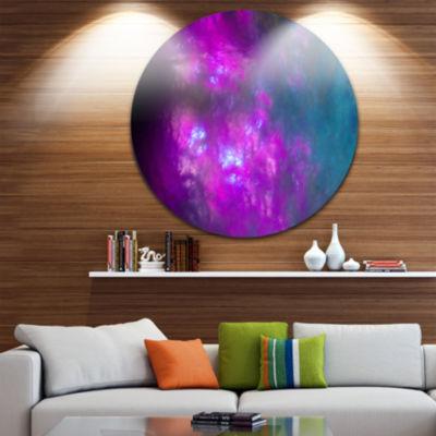 Designart Purple Blue Starry Fractal Sky AbstractRound Circle Metal Wall Art