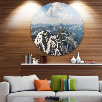 Designart Green Mountains in Spring Panorama Landscape Metal Circle Wall Art