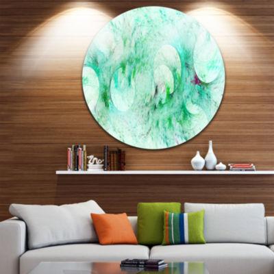 Designart Green Circles Fractal Texture Abstract Round Circle Metal Wall Art