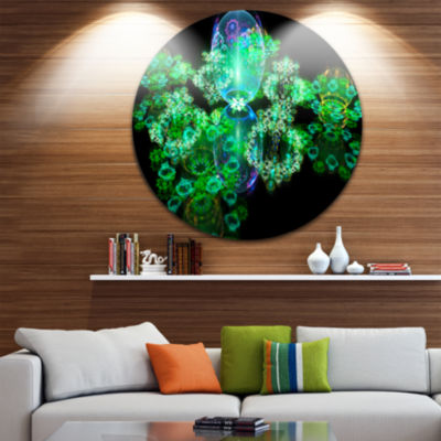 Designart Green Water Drops on Mirror Abstract Round Circle Metal Wall Art