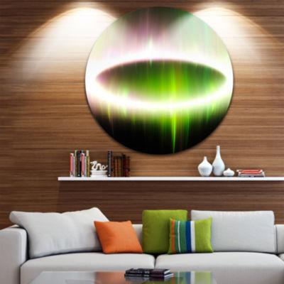 Designart Beautiful Green Northern Lights AbstractRound Circle Metal Wall Art