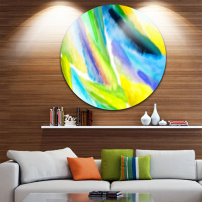 Designart Green Vibrant Brushstrokes Abstract Round Circle Metal Wall Art