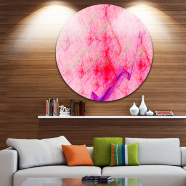 Designart Pink Fractal Electric Lightning AbstractArt on Round Circle Metal Wall Art Panel