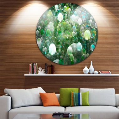 Designart Green Fractal Molecule Pattern AbstractRound Circle Metal Wall Art Panel