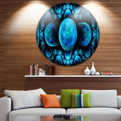 Designart Blue Exotic Pattern on Black Abstract Art on Round Circle Metal Wall Art Panel