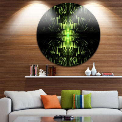 Designart Green Butterfly Pattern on Black Abstract Round Circle Metal Wall Art Panel
