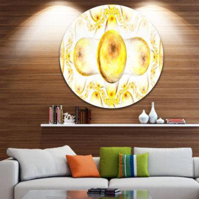 Designart Yellow Exotic Pattern on White AbstractArt on Round Circle Metal Wall Art Panel