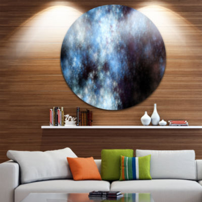 Designart Blue White Starry Fractal Sky Abstract Art on Round Circle Metal Wall Art Panel