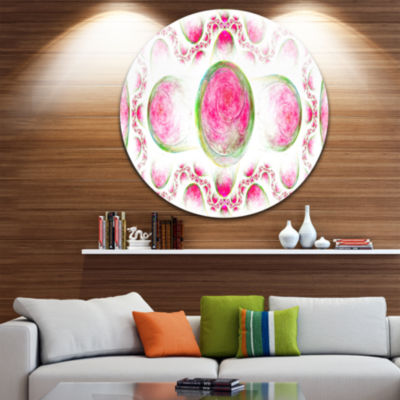 Designart Pink Exotic Pattern on White Abstract Art on Round Circle Metal Wall Art Panel