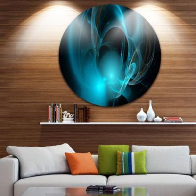 Designart Blue Fractal Galactic Nebula Abstract Round Circle Metal Wall Art Panel