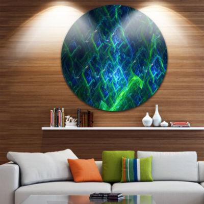 Designart Green Blue Electric Lightning Abstract Art on Round Circle Metal Wall Art Panel