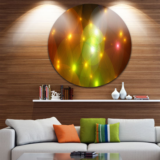 Designart Golden Fractal Lights in Fog Abstract Round Circle Metal Wall Art Panel