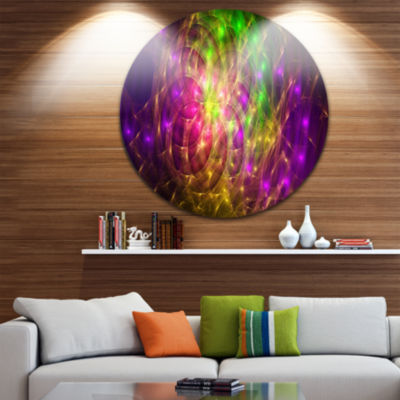 Designart Purple Green Symphony of Colors AbstractRound Circle Metal Wall Art Panel