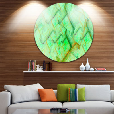 Designart Light Green Electric Lightning AbstractArt on Round Circle Metal Wall Art Panel