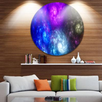 Designart Colorful Fractal Rotating Galaxies Abstract Round Circle Metal Wall Art Panel