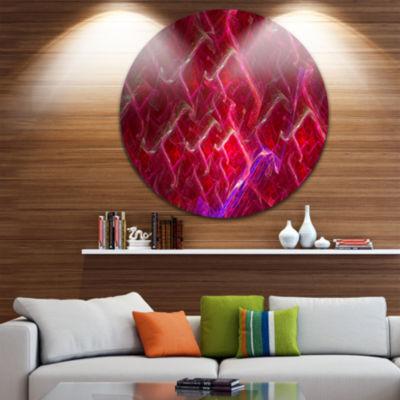 Designart Red Fractal Electric Lightning AbstractArt on Round Circle Metal Wall Art Panel