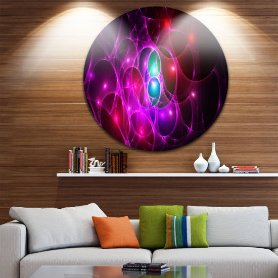 Designart Pink Glowing Bubbles Time Abstract RoundCircle Metal Wall Art Panel